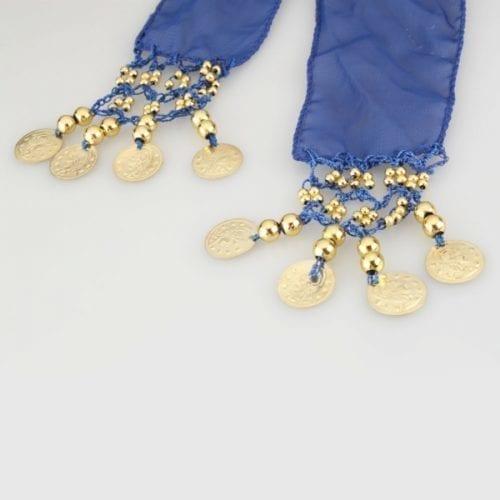 3mörkblå höftsjal med guldmynt