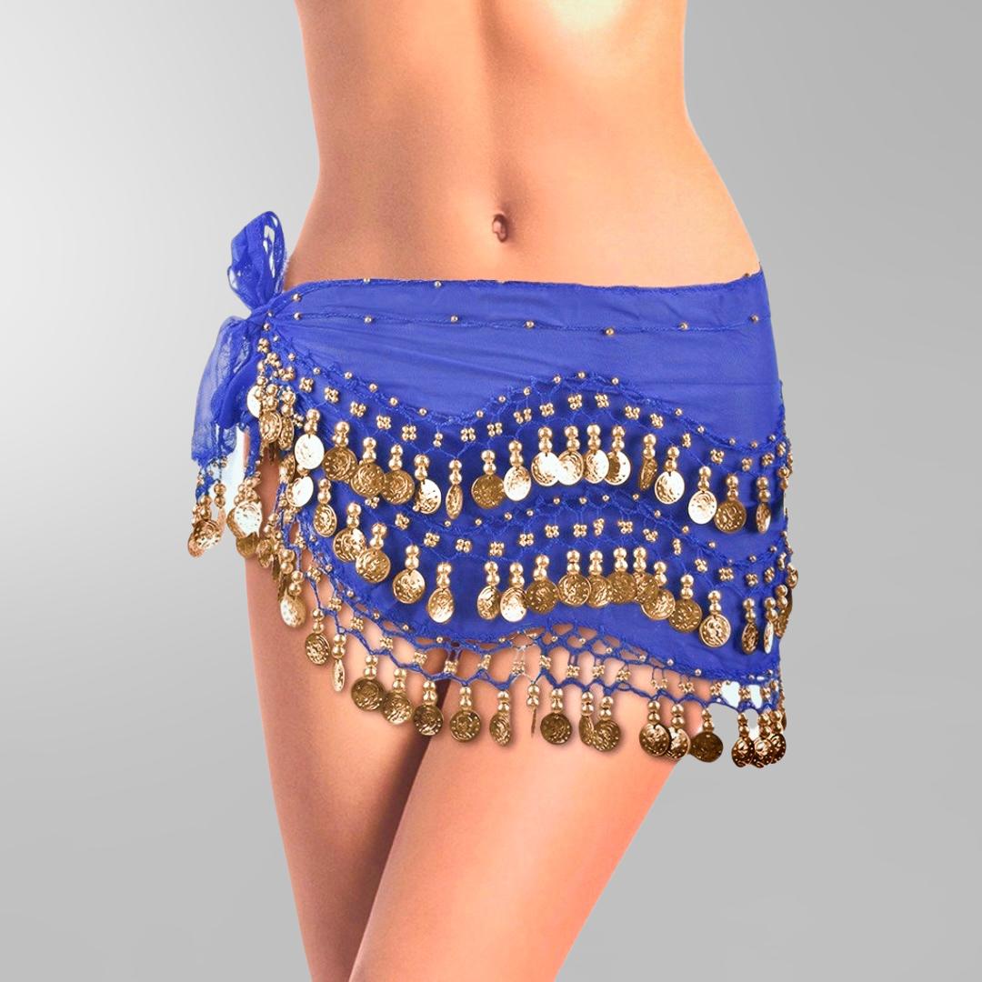 4mörkblå höftsjal med guldmynt