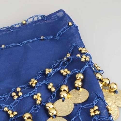 5mörkblå höftsjal med guldmynt