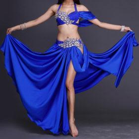 klarblå magdansdräkt