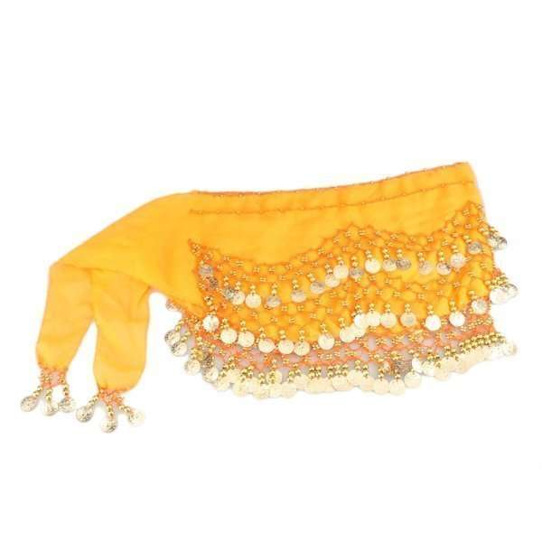 Orange hip scarf - base model with gold coins - Dansöz Dance school ... d8ae24c90a749