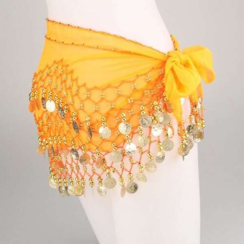 dancing hip scarf orange red