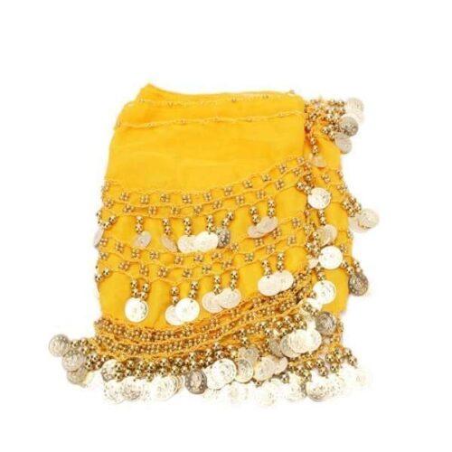 gul höftsjal med silvermynt2