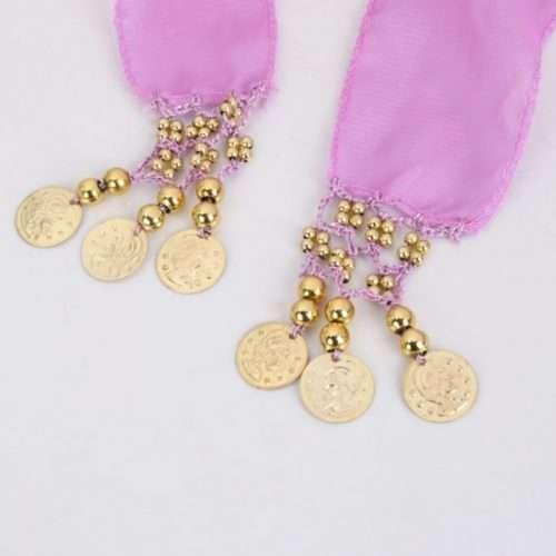 lavendel höftsjal med guldmynt scenkonst