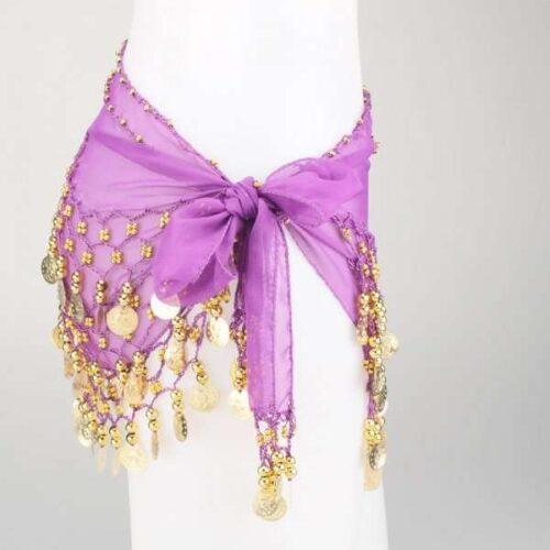 lila höftsjal med guldmynt1