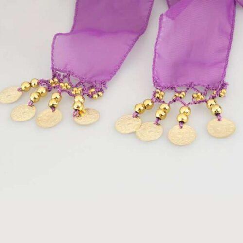 lila höftsjal med guldmynt5
