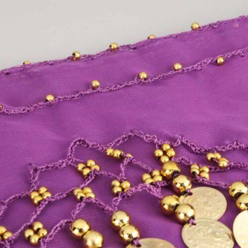 lila höftsjal med guldmynt7