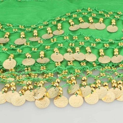 limegrön höftsjal med guldmynt5