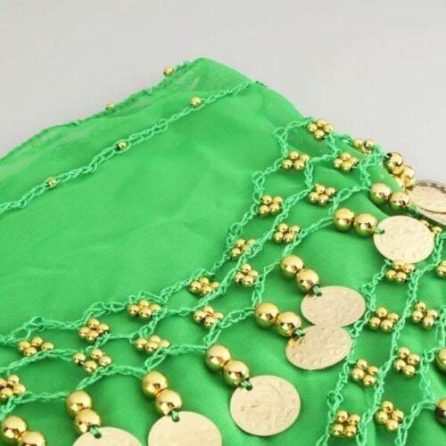 limegrön höftsjal med guldmynt6