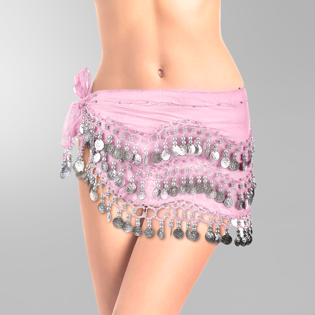 Light pink hip scarf - base model with silver coins - Dansöz Dance ... 99d2ce81f09ef