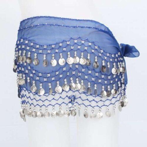 mörkblå höftsjal med silvermynt1