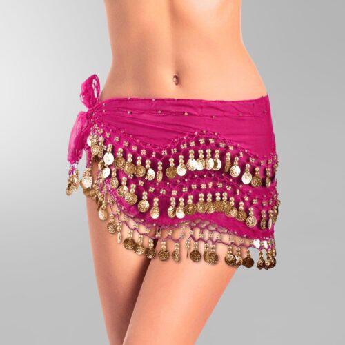 mörkrosa höftsjal med guldmynt5