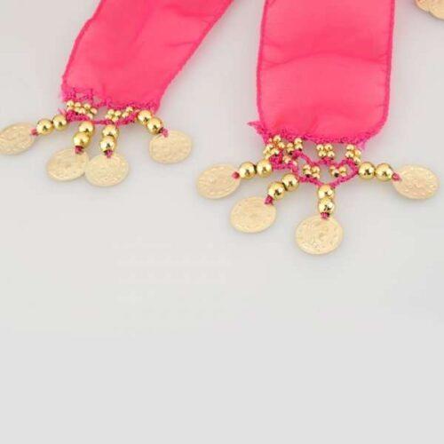 mörkrosa höftsjal med guldmynt7