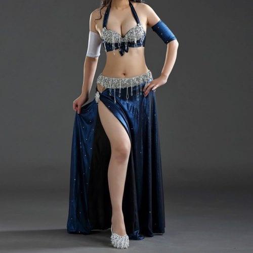 magdansdräkter blå metallic dansdräkt orientalisk dans3
