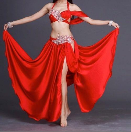 magdansdräkter röd satin dansdräkt orientalisk dans4