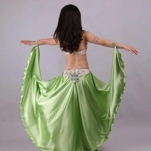 olivgrön magdansdräkt i satin dansöz