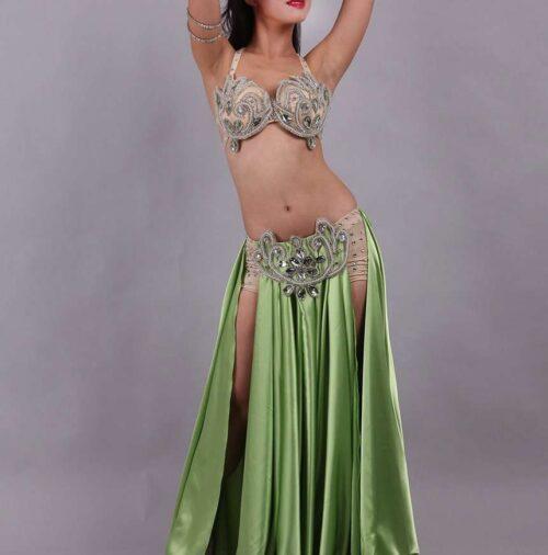 olivgrön magdansdräkt i satin dansöz malmö