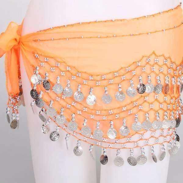 Orange hip scarf – base model with silver coins  4796ee2bb2894