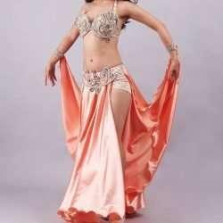 persika magdansdräkt i satin arabisk dans