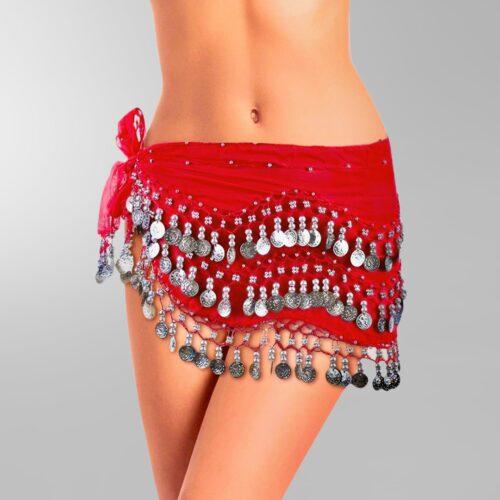 röd höftsjal med silvermynt5