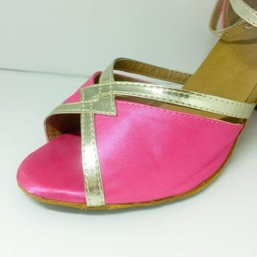 rosa dansskor med guld för magdans orientalisk dans och samba salsa latindans2