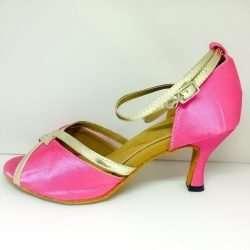 rosa dansskor med guld för magdans orientalisk dans och samba salsa latindans3