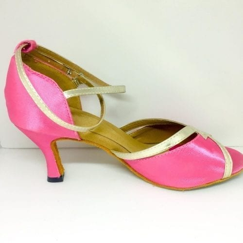 rosa dansskor med guld för magdans orientalisk dans och samba salsa latindans4