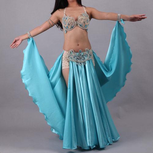 turkos magdansdräkt i satin dansdräkt