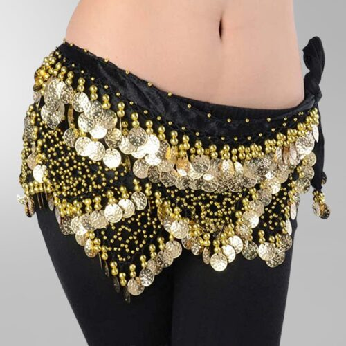 Hip scarf for belly dance with beads and coins in gold - Dansöz ... 32802f5ce8028