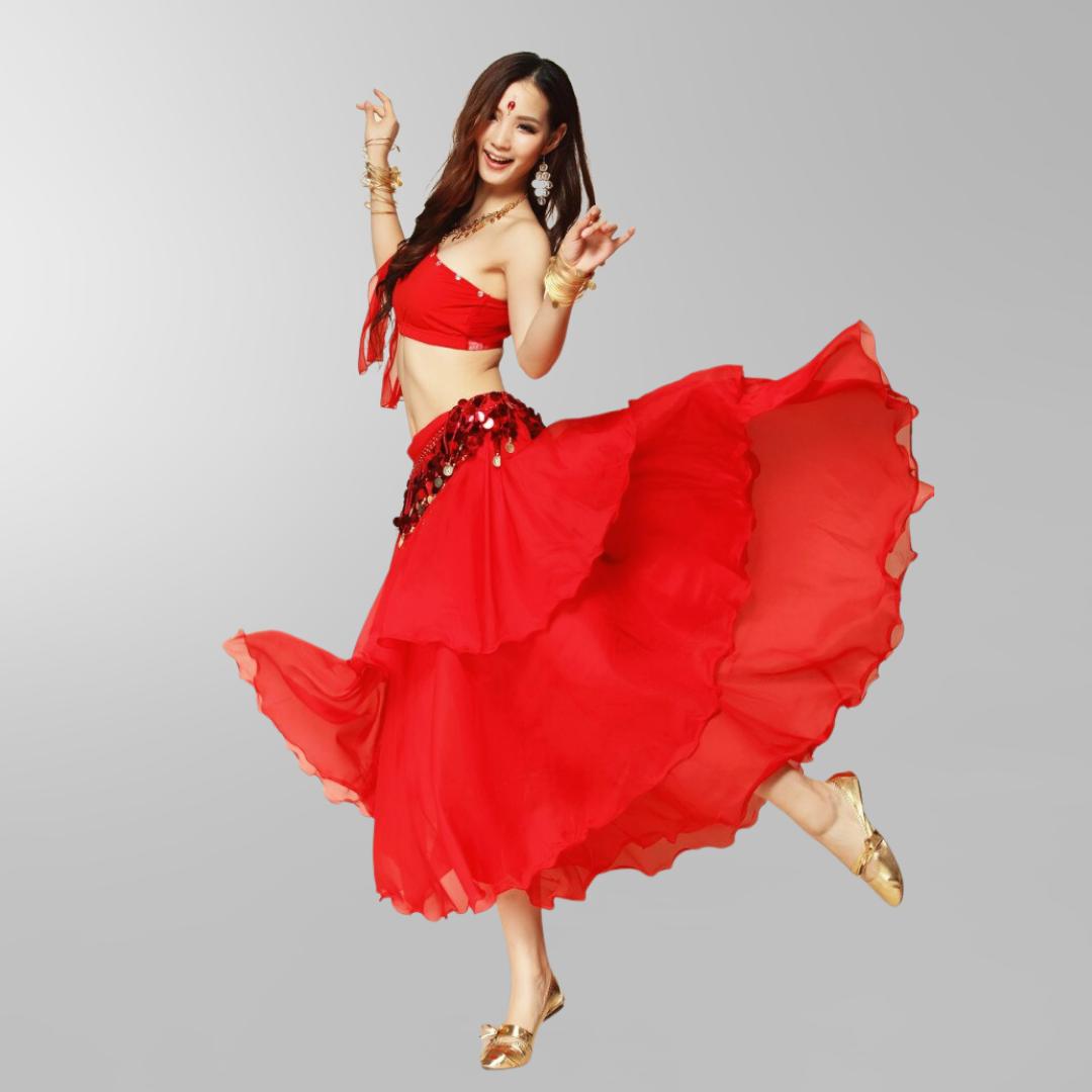 kjol för orientalisk dans i chiffong danskläder