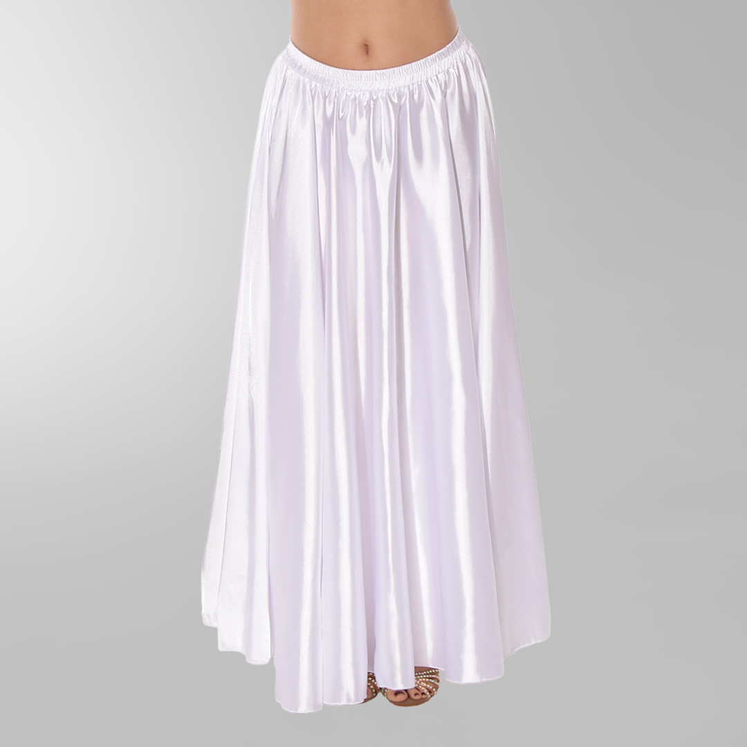 magdansdräkt kjol i glansig satin vit