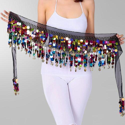 multicolor paljett myntsjal orientalisk dans1