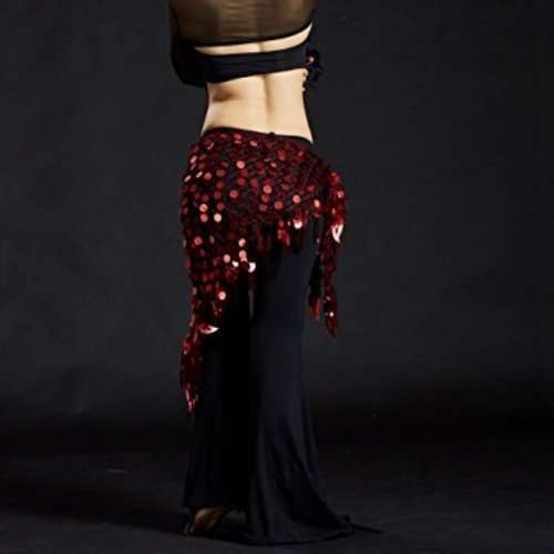 Hip scarf with sequins for belly dance in dark red - Dansöz Dance ... f252cc110a711