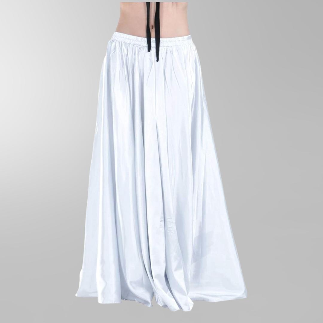 vit magdansdräkt kjol i glansig satin