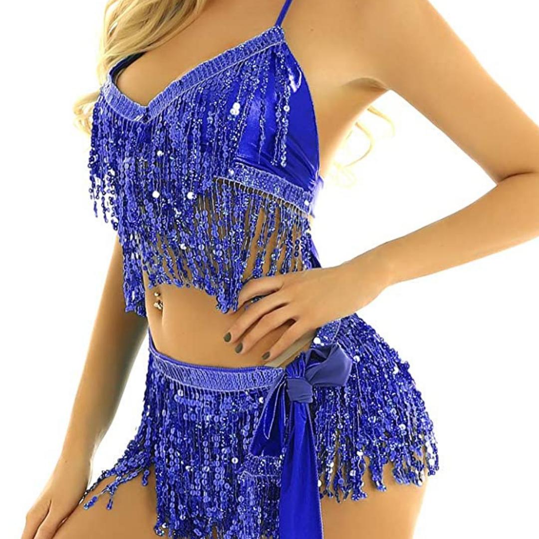 dansbälte magdanssjal danskläder samba mörkblå