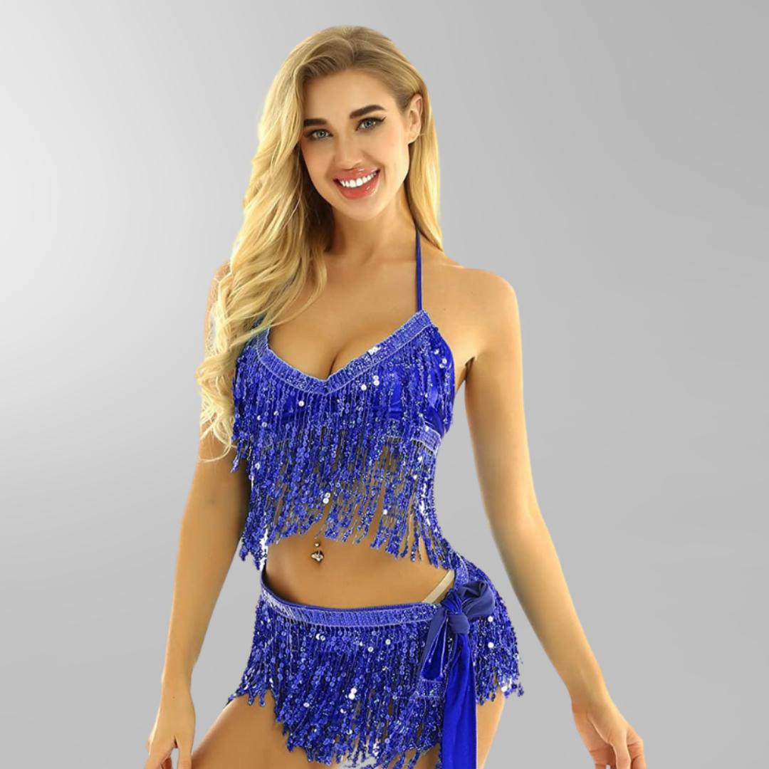 danssjal danskläder orientalisk -höftsjal mörkblå