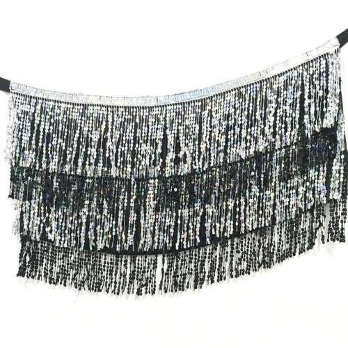 magdansbälte sjal danssjal silver svart